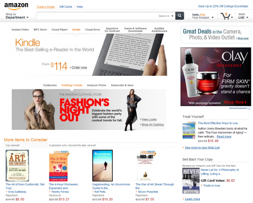Amazon new home page