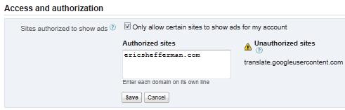 Unauthorized sites : translate.googleusercontent.com
